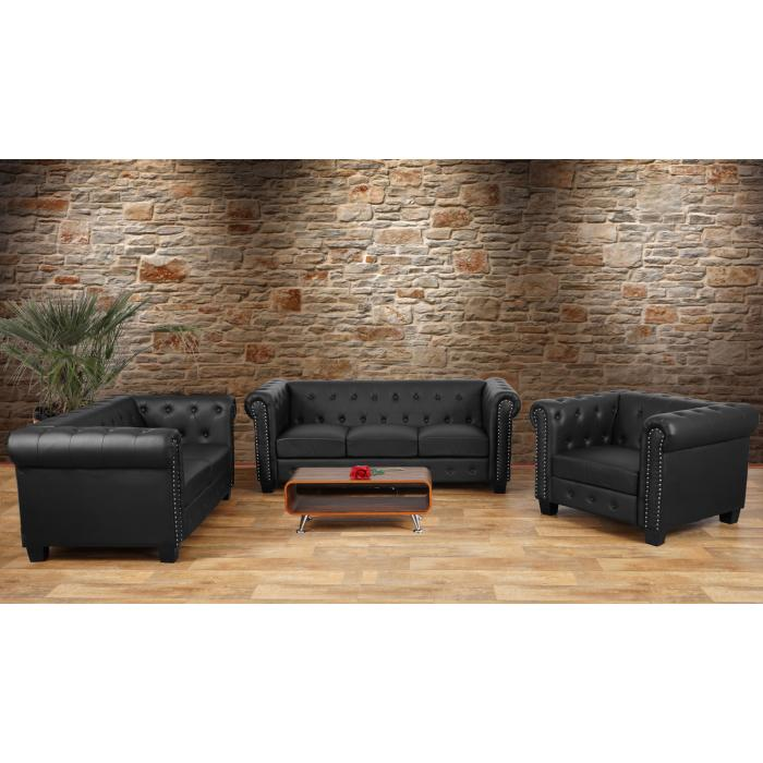 luxus 3 2 1 sofagarnitur couchgarnitur loungesofa chesterfield kunstleder eckige f e schwarz. Black Bedroom Furniture Sets. Home Design Ideas