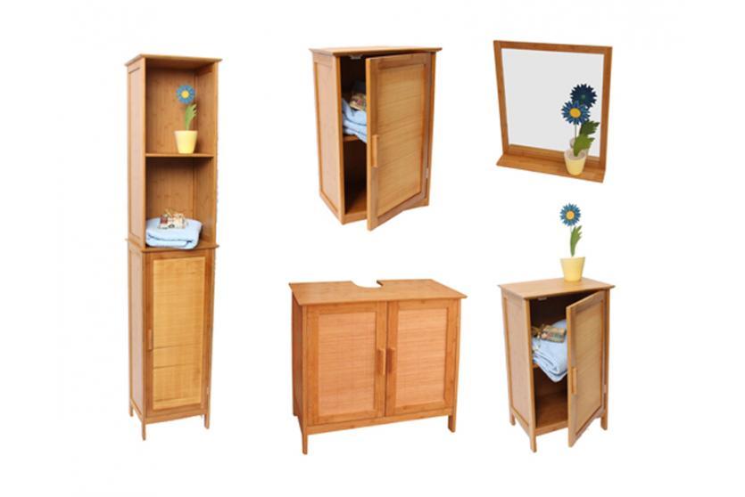 Badezimmerschrank bambus  Bambus-Waschbecken-Unterschrank, Badezimmerschrank, zweitürig ...