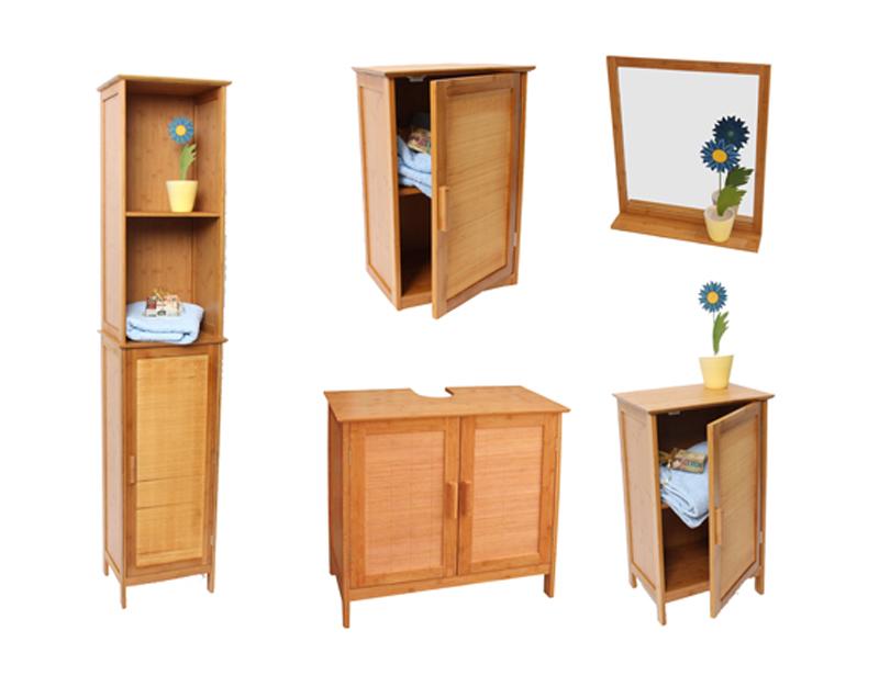 Bambus Waschbecken Unterschrank, Badezimmerschrank, Zweitürig, 62x60x30cm