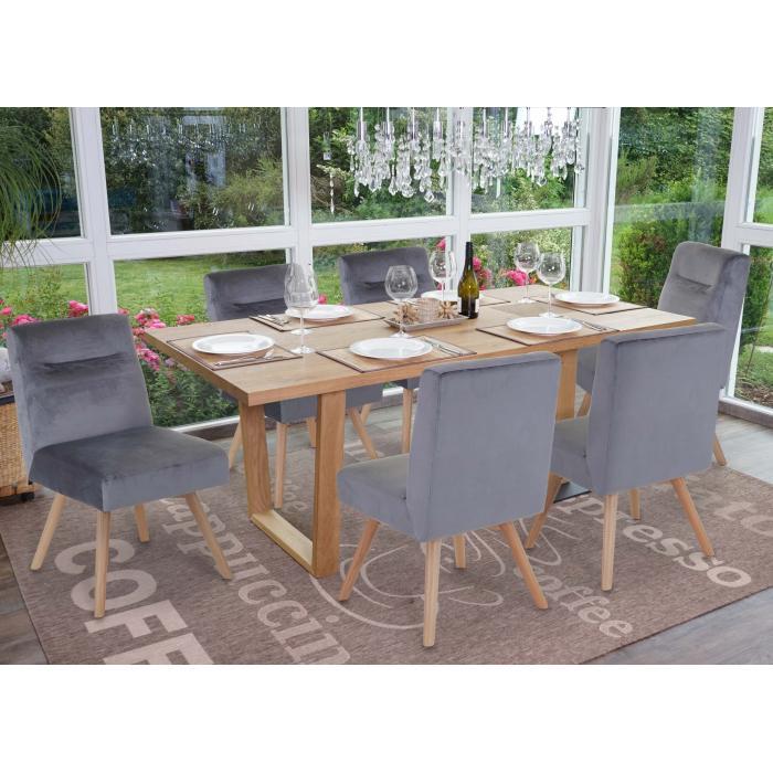6x Esszimmerstuhl HWC F38, Stuhl Küchenstuhl, Retro Design Samt ~ grau