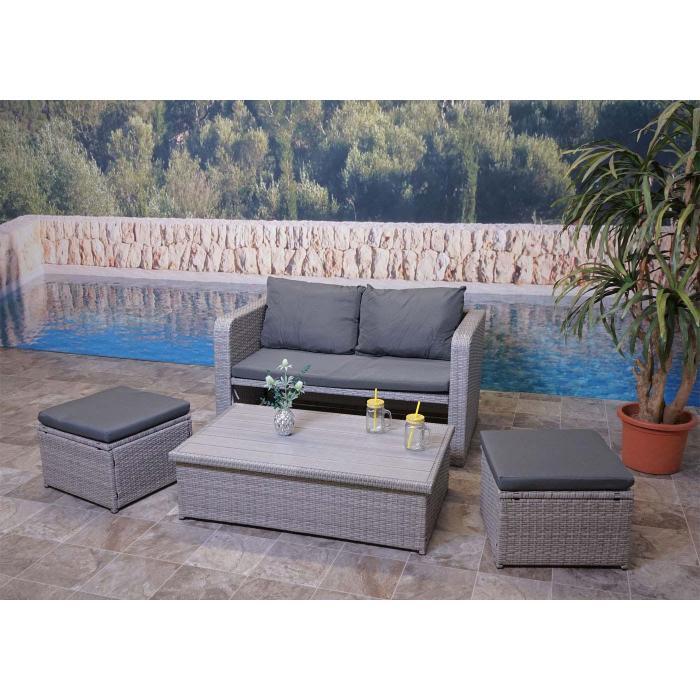 Poly-Rattan Garnitur HWC-G78, Balkon-/Garten-/Lounge-Set ...