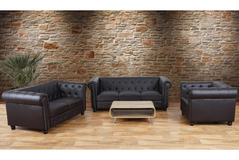 luxus 3 2 1 sofagarnitur couchgarnitur loungesofa chesterfield kunstleder runde f e braun. Black Bedroom Furniture Sets. Home Design Ideas