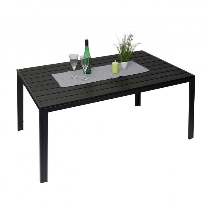 Gartentisch HWC G12, Balkontisch Tisch, WPC Holzoptik Stahl 150x90cm ~ schwarz, Tischplatte schwarz