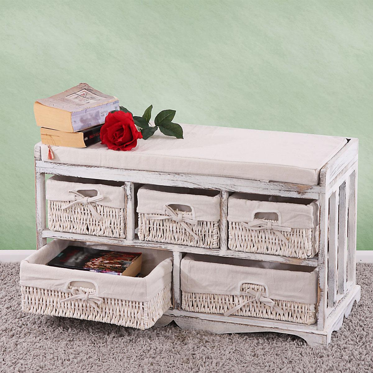 B-Ware  Kommode und Sitzbank mit 5 Schubladen, Shabby-Look, Vintage weiß