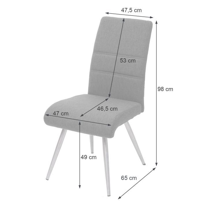 2x Esszimmerstuhl HWC G55, Küchenstuhl Stuhl, StoffTextil Edelstahl gebürstet ~ grau