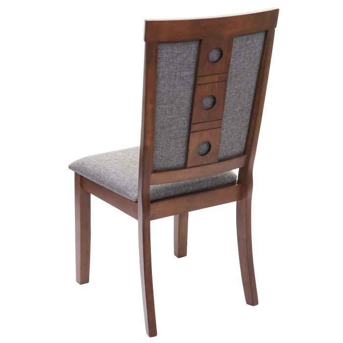 6x Esszimmerstuhl HWC-G61, Küchenstuhl Lehnstuhl Stuhl, Stoff/Textil Massiv-Holz ' dunkles Gestell, grau