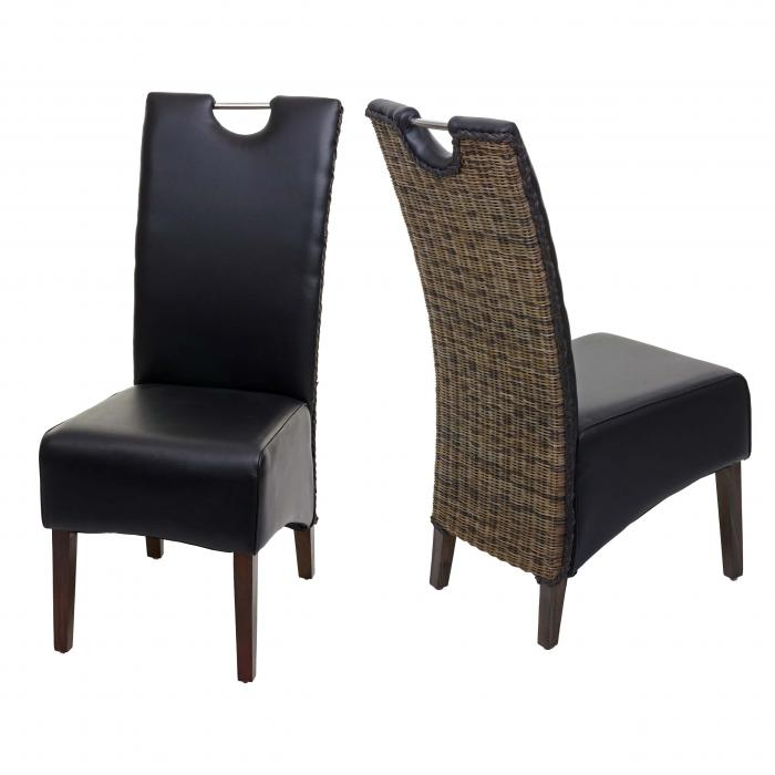 2x Esszimmerstuhl HWC H13, Küchenstuhl Stuhl, Kunstleder Massivholz echtes Rattan Korbgeflecht ~ schwarz