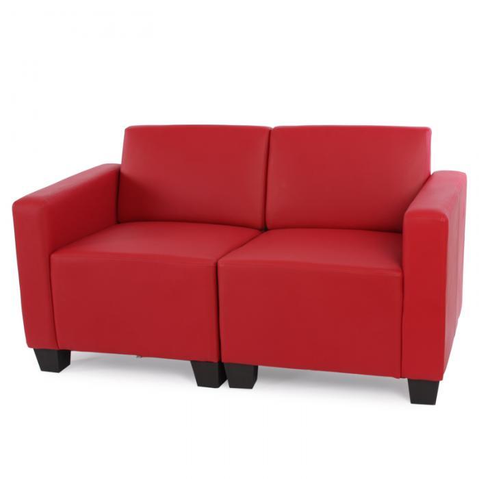 2-sitzer sofa couch lyon, kunstleder ~ rot, Hause deko