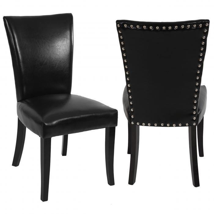 2x esszimmerstuhl chesterfield stuhl lehnstuhl nieten kunstleder schwarz dunkle beine - Chesterfield stuhl ...