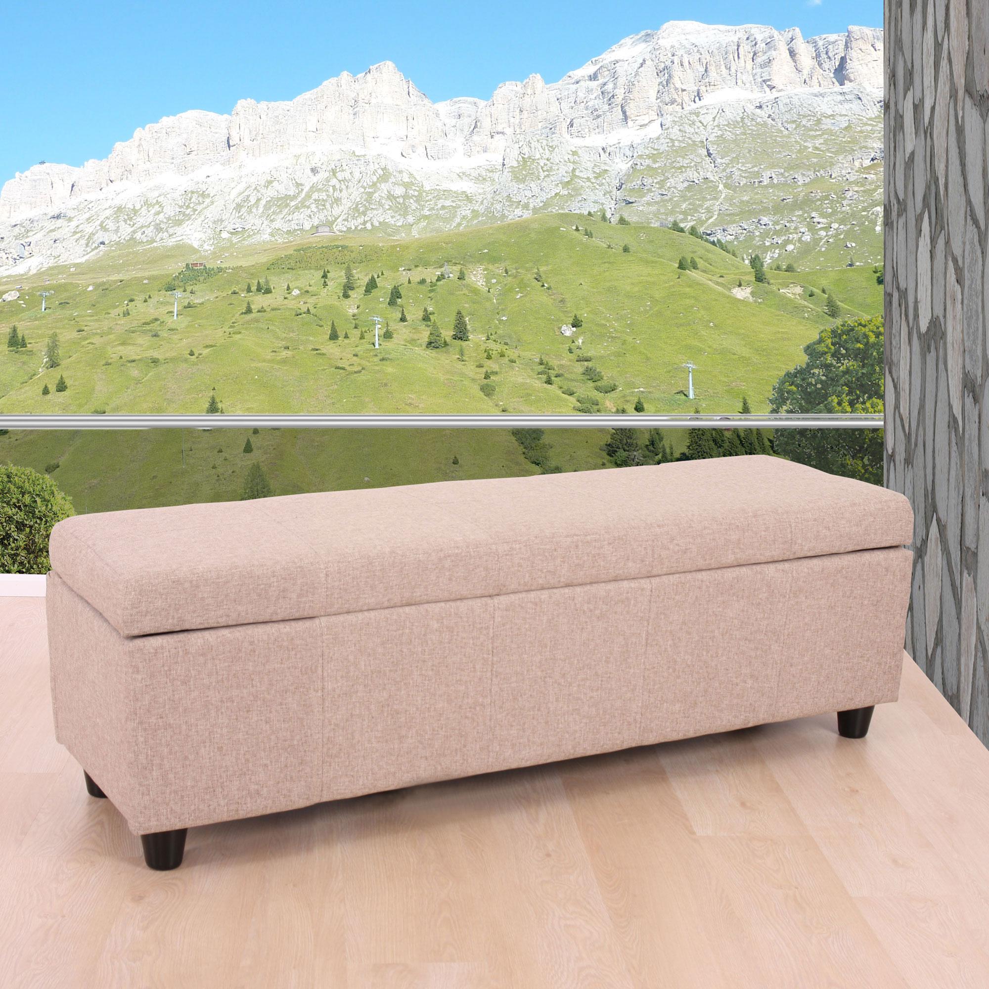 aufbewahrungs truhe sitzbank bank kriens textil 112x45x45cm beige. Black Bedroom Furniture Sets. Home Design Ideas