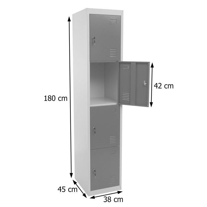 Mendler Schlie/ßfach Boston T163 Metall 180x38x45cm ~ anthrazit Schlie/ßfachschrank Wertfachschrank Spind