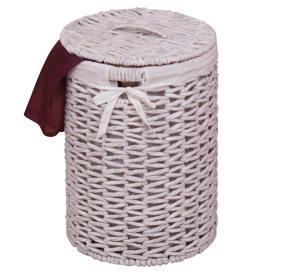 Wäschekorb H146, Wäschesammler, Wasserhyazinthe handgeflochten, 46x32x32cm ~ weiß ~ 18001155_Wäschekorb Wasserhyazinthe Groß