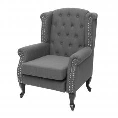 Sessel Chesterfield, Relaxsessel Clubsessel Ohrensessel, wasserabweisend Stoff/Textil ~ dunkelgrau ohne Ottomane