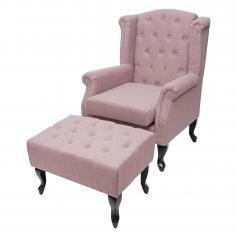 Sessel Chesterfield, Relaxsessel Clubsessel Ohrensessel, wasserabweisend Stoff/Textil ~ vintage rosa mit Ottomane