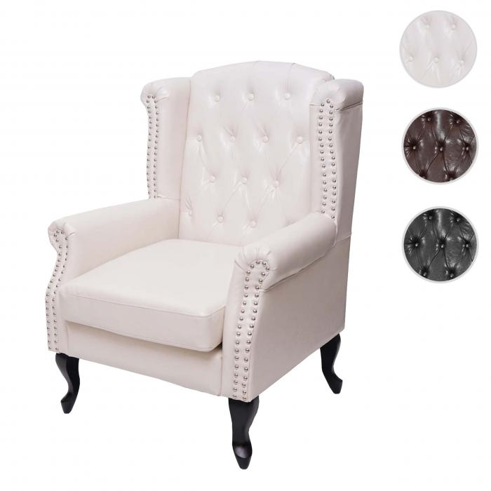 Sessel Relaxsessel Clubsessel Ohrensessel Chesterfield, Kunstleder ~ creme-weiß ohne Ottomane
