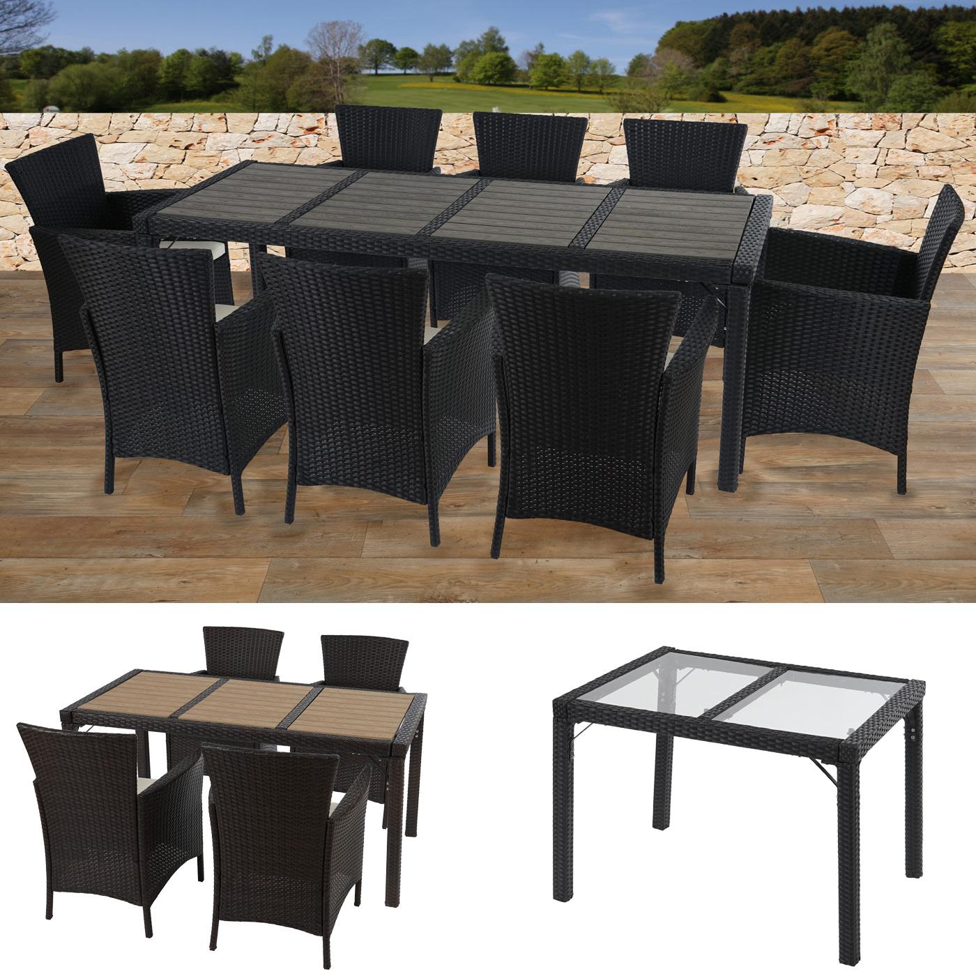 Poly-Rattan Garten-Garnitur RomV, 8 Sessel+Tisch 200x80cm WPC/Glas Alu-Gestell ~ Variantenangebot