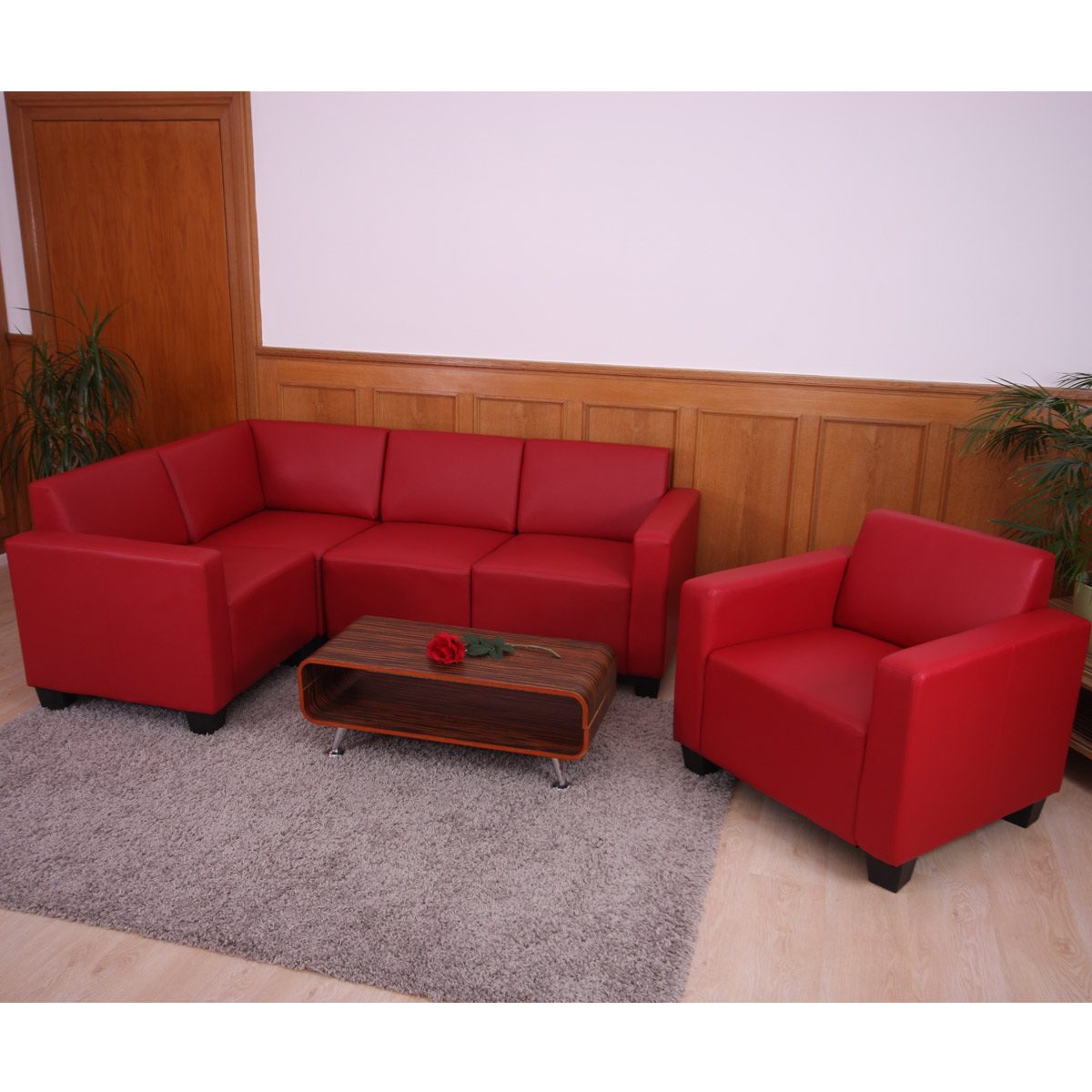 modular sofa system couch garnitur lyon 4 1 kunstleder rot. Black Bedroom Furniture Sets. Home Design Ideas