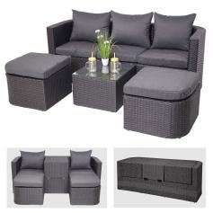 3in1-Garnitur HWC-J37, Garten-/Lounge-Set Sonneninsel, Spun Poly halbrundes Poly-Rattan ~ anthrazit, Kissen dunkelgrau