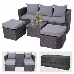 3in1-Garnitur HWC-J37, Garten-/Lounge-Set Sonneninsel, Spun Poly halbrundes Poly-Rattan ~ anthrazit, Kissen hellgrau