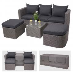 3in1-Garnitur HWC-J37, Garten-/Lounge-Set Sonneninsel, Spun Poly halbrundes Poly-Rattan ~ grau, Kissen anthrazit