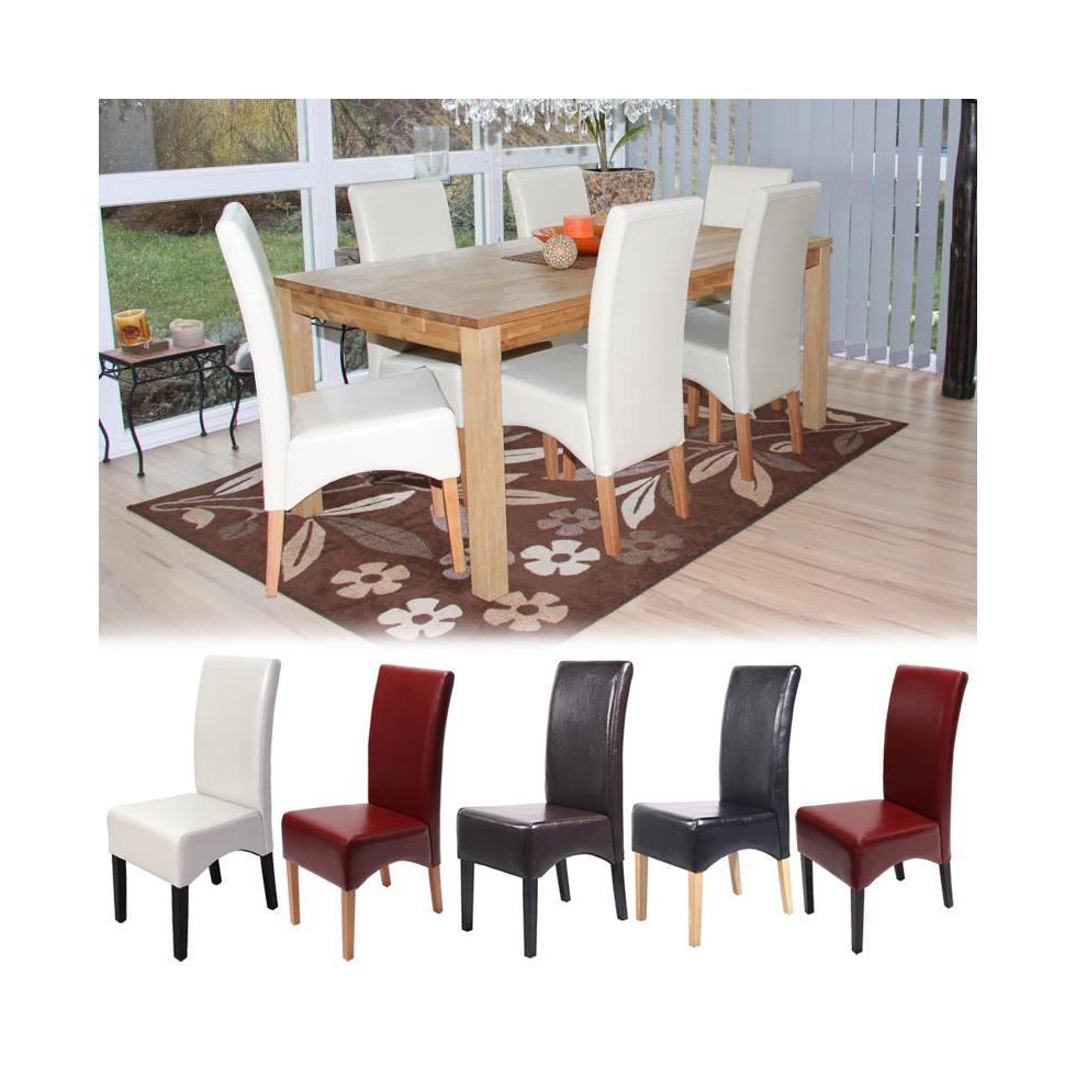 6x esszimmerstuhl latina lehnstuhl stuhl beschichtetes leder ebay. Black Bedroom Furniture Sets. Home Design Ideas