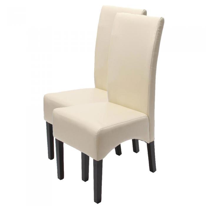 2x esszimmerstuhl lehnstuhl stuhl latina leder creme dunkle beine. Black Bedroom Furniture Sets. Home Design Ideas