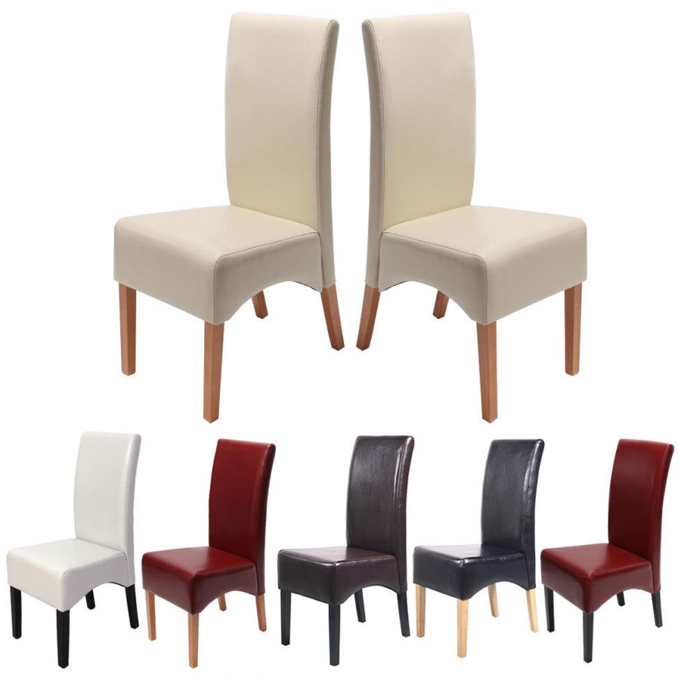 2x esszimmerstuhl latina lehnstuhl stuhl beschichtetes leder ebay. Black Bedroom Furniture Sets. Home Design Ideas