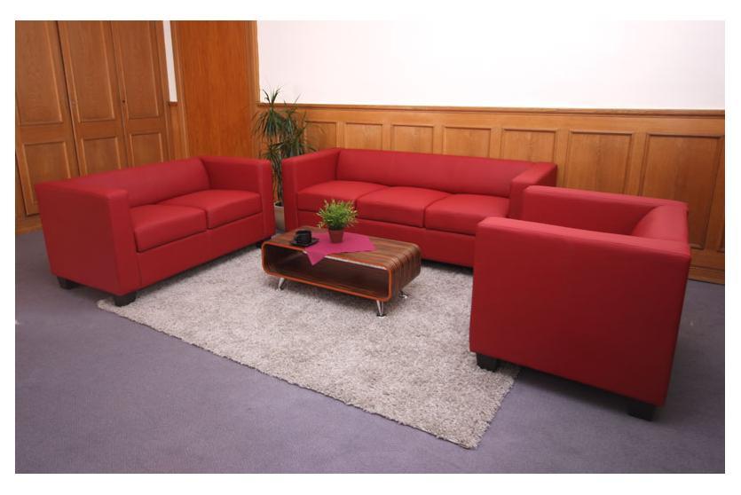 3 2 1 Sofagarnitur Couchgarnitur Loungesofa Lille Leder Rot