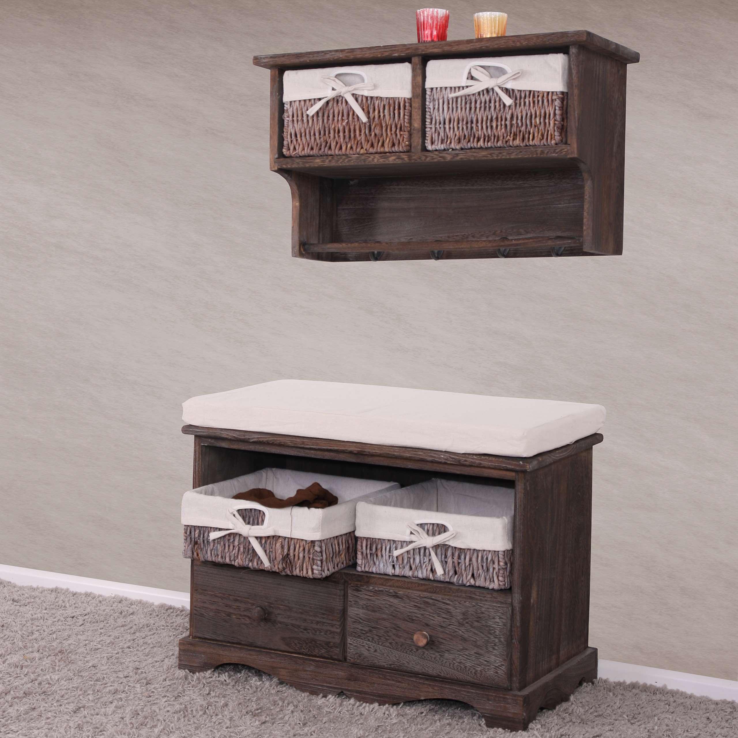 sitzbank kommode mit 2 k rben 42x62x33cm shabby look. Black Bedroom Furniture Sets. Home Design Ideas