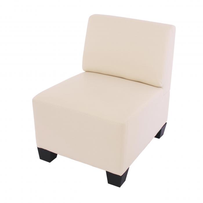 Modular 2 Sitzer Sofa Couch Lyon Kunstleder Creme Ohne Armlehnen