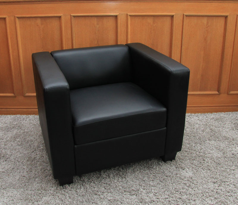 Lounge sessel schwarz  Loungesessel Lille ~ Leder, schwarz