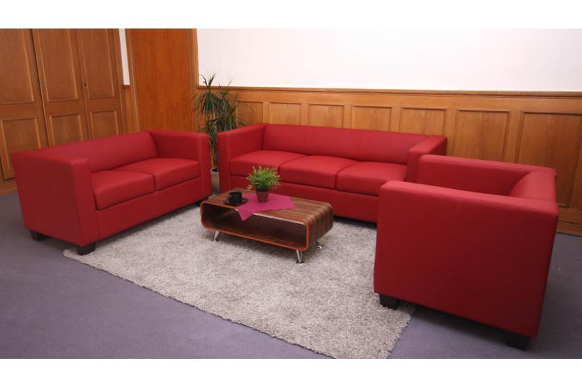 2er sofa couch loungesofa lille kunstleder rot. Black Bedroom Furniture Sets. Home Design Ideas