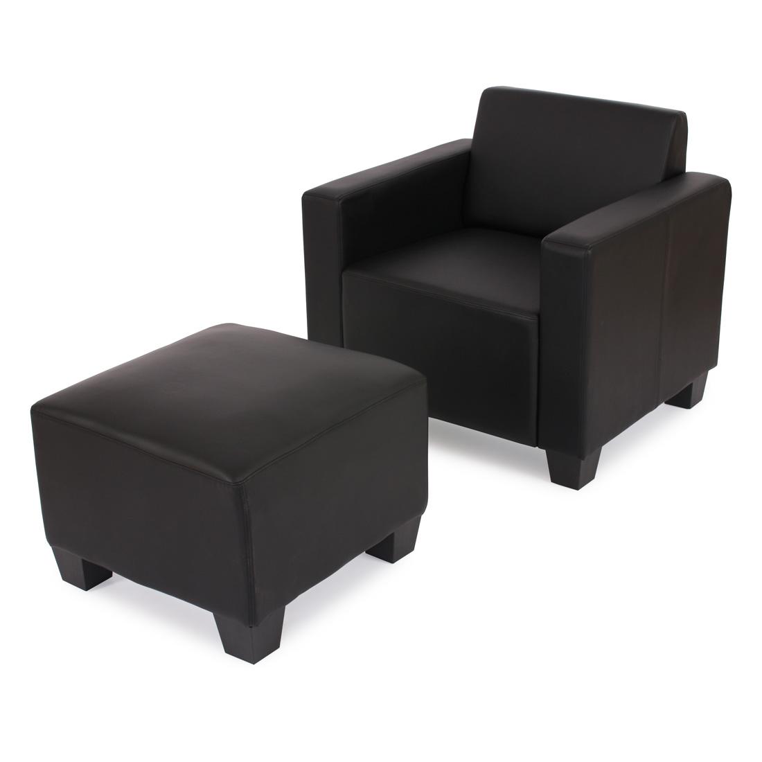 modular sessel loungesessel mit ottomane lyon kunstleder schwarz. Black Bedroom Furniture Sets. Home Design Ideas
