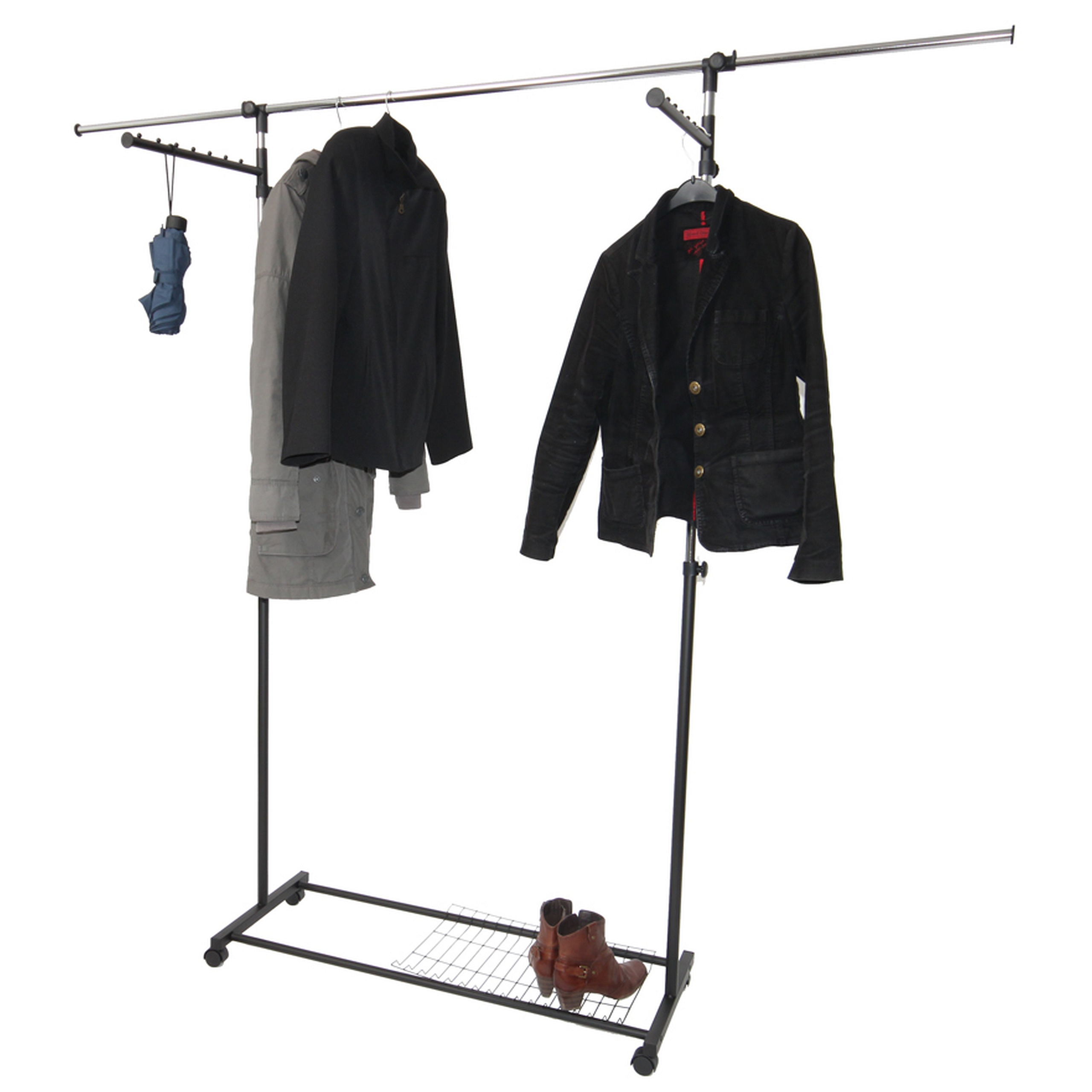 Mendler Luxus Kleiderwagen Kleiderständer Rollgarderobe, fahrbar, mit Seitenhanger ausziehbar 12504