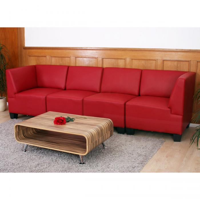 modular 4 sitzer sofa couch lyon kunstleder rot hohe armlehnen. Black Bedroom Furniture Sets. Home Design Ideas