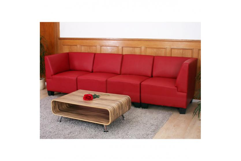 modular 4 sitzer sofa couch lyon kunstleder rot hohe. Black Bedroom Furniture Sets. Home Design Ideas