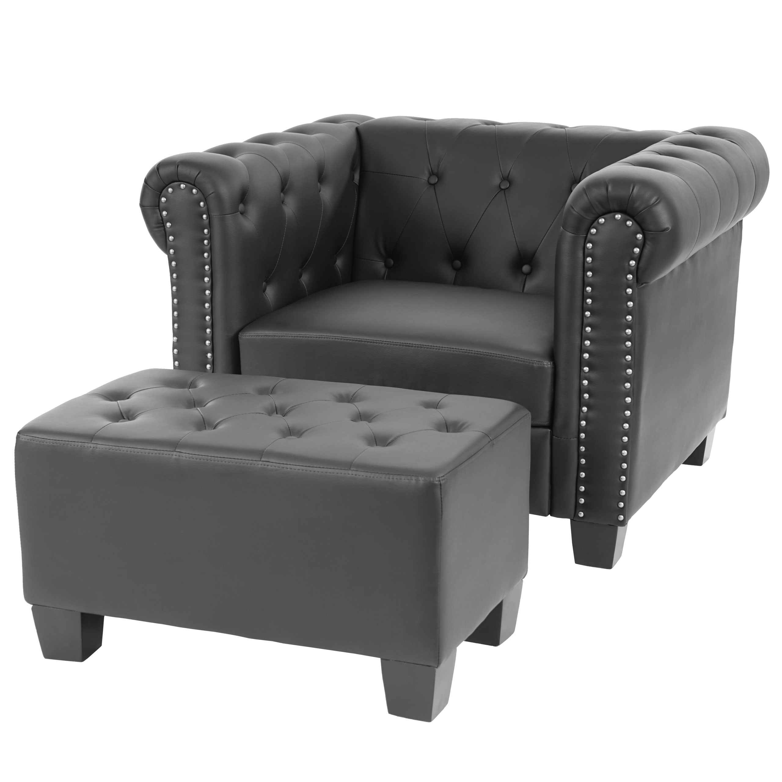 luxus sessel loungesessel relaxsessel chesterfield kunstleder eckige f e schwarz mit ottomane. Black Bedroom Furniture Sets. Home Design Ideas