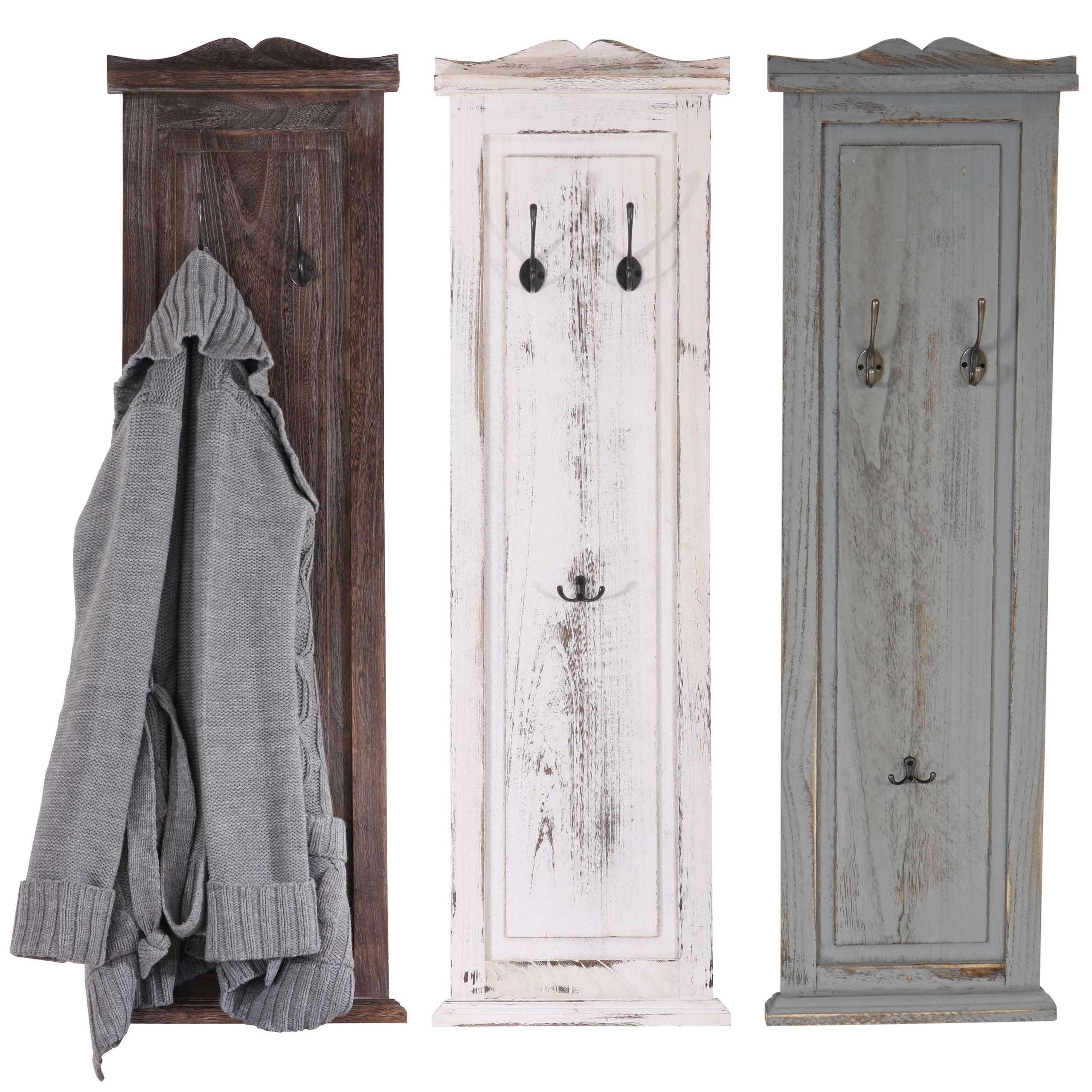 2x garderobe wandgarderobe wandhaken 109x28x3 5cm shabby look wei braun grau ebay. Black Bedroom Furniture Sets. Home Design Ideas