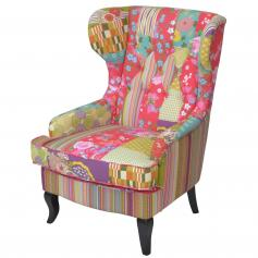 Ohrensessel H144, Sessel Polstersessel Loungesessel Clubsessel, Textil, Patchworkoptik