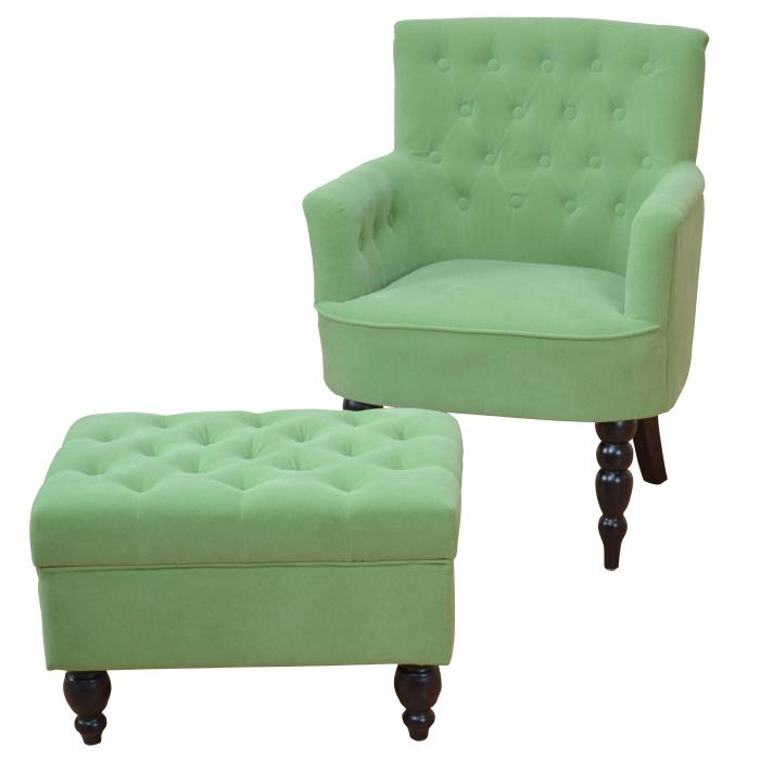 polstersessel mit ottomane h143 sessel loungesessel clubsessel textil gr n. Black Bedroom Furniture Sets. Home Design Ideas