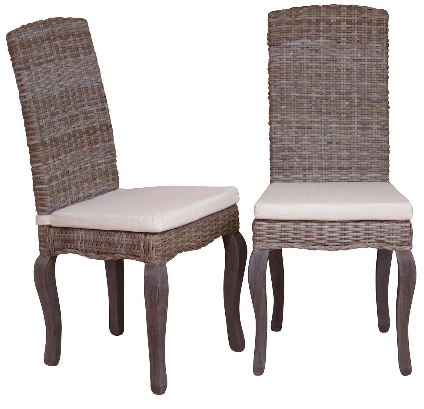 2x esszimmerstuhl h151 stuhl lehnstuhl rattanstuhl inkl sitzkissen kubu rattan grau f e braun. Black Bedroom Furniture Sets. Home Design Ideas