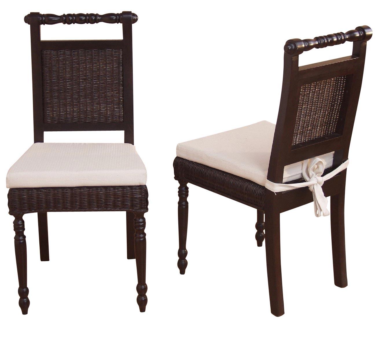 2x esszimmerstuhl h142 stuhl lehnstuhl rattanstuhl inkl sitzkissen 96x54x46cm dunkelbraun. Black Bedroom Furniture Sets. Home Design Ideas