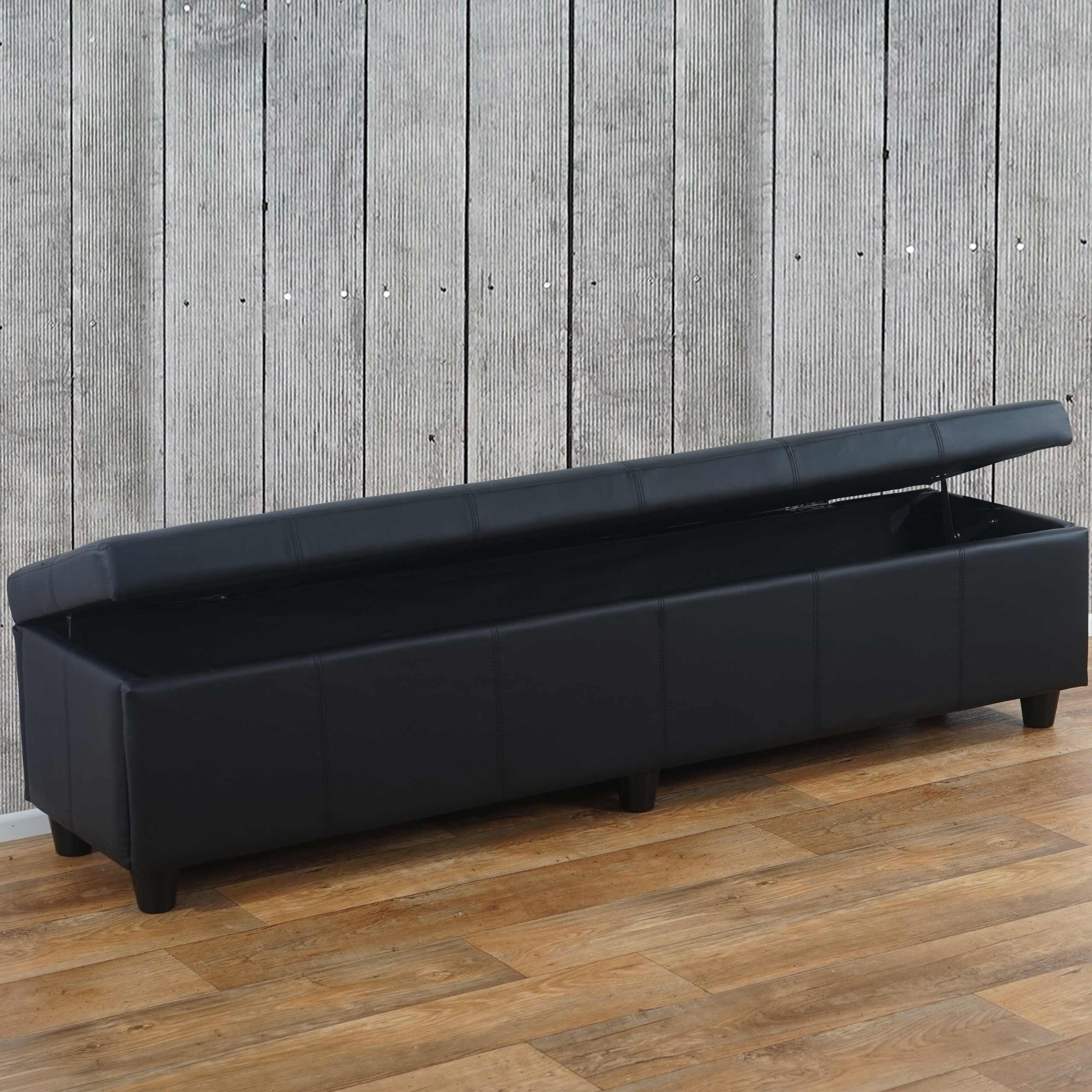 aufbewahrungs truhe sitzbank bank kriens xxl kunstleder 180x45x45cm ebay. Black Bedroom Furniture Sets. Home Design Ideas