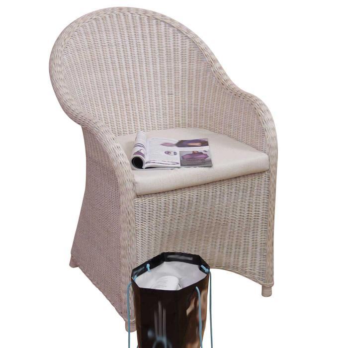 rattansessel h141 gartensessel gartenstuhl sessel rattan inkl sitzkissen 88x61x69cm wei. Black Bedroom Furniture Sets. Home Design Ideas