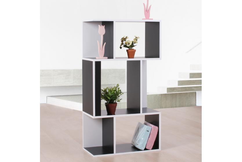 standregal b cherregal regal aus holz 109x59x30 cm schwarz wei ebay. Black Bedroom Furniture Sets. Home Design Ideas
