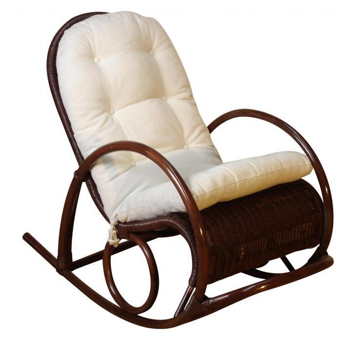 schaukelstuhl h136 schwingsessel relaxsessel rattan inkl sitzkissen 100x60x116cm braun. Black Bedroom Furniture Sets. Home Design Ideas