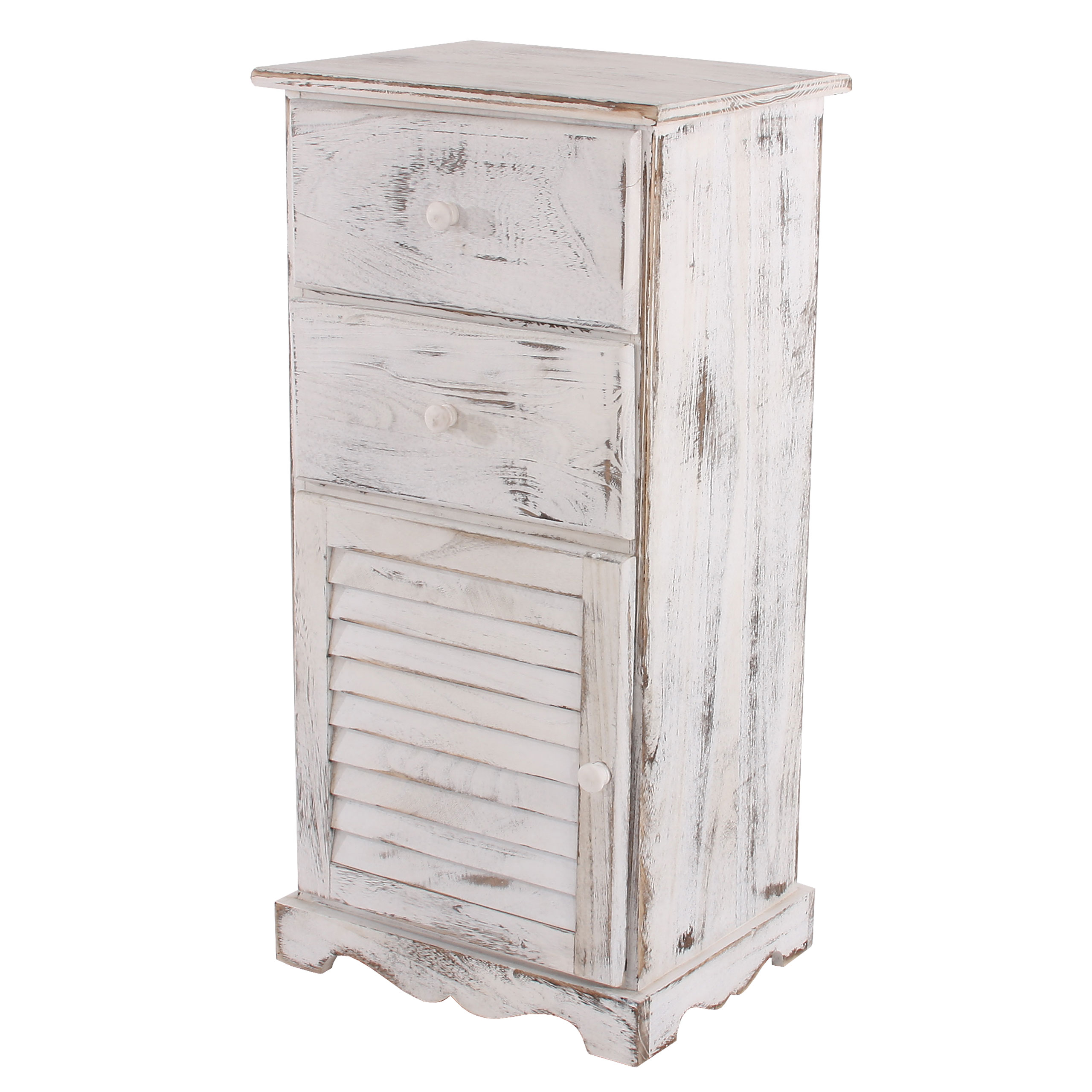kommode schrank 81x40x32cm shabby look vintage braun wei ebay. Black Bedroom Furniture Sets. Home Design Ideas