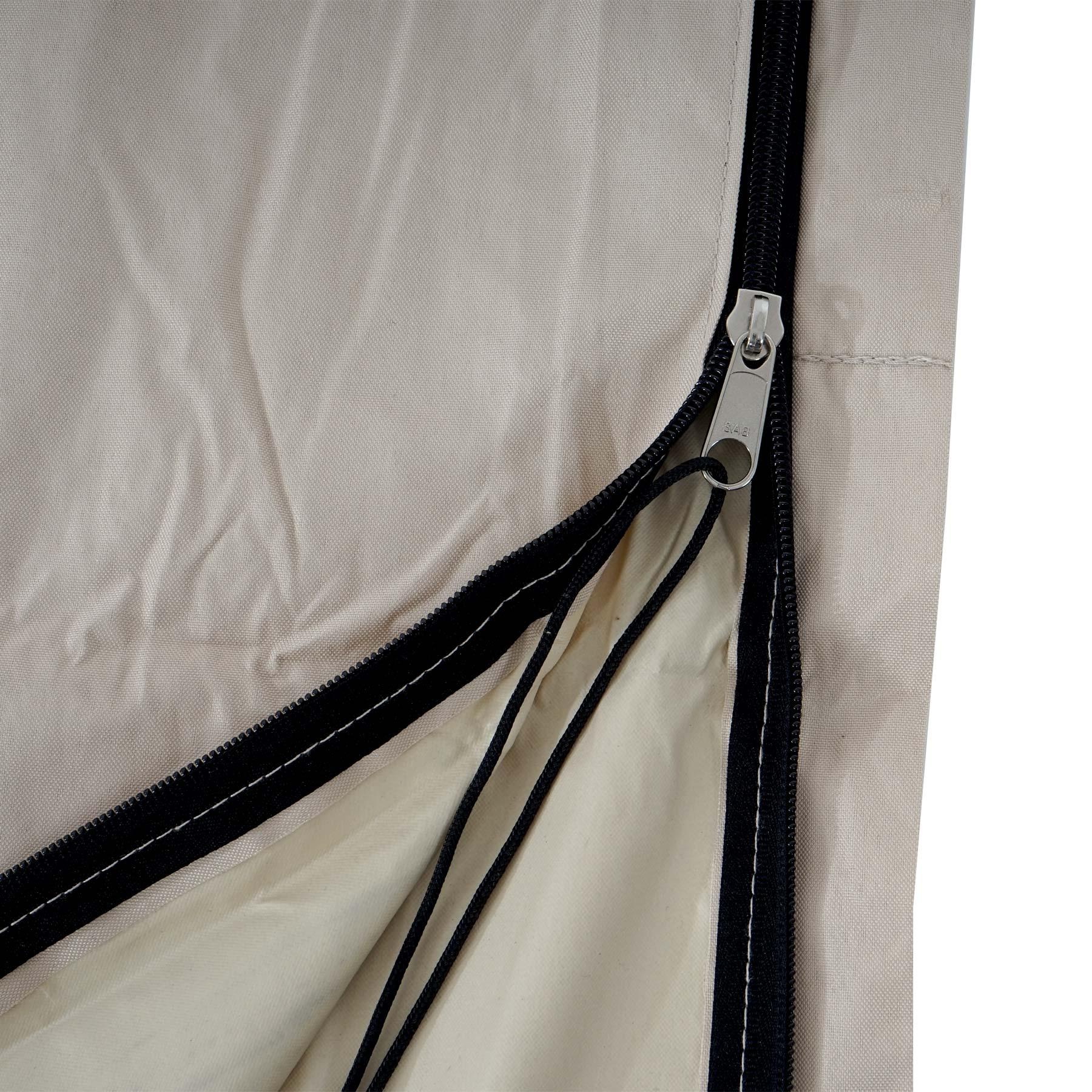Schutzhülle HWC für Ampelschirm bis 4,3 m Detailansicht Reißverschluss