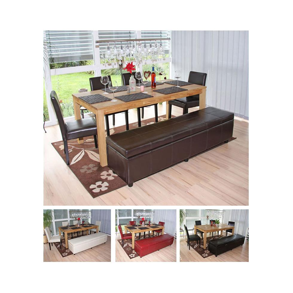 esszimmer garnitur sitzgruppe bank mit aufbewahrung kriens 4 st hle leder ebay. Black Bedroom Furniture Sets. Home Design Ideas
