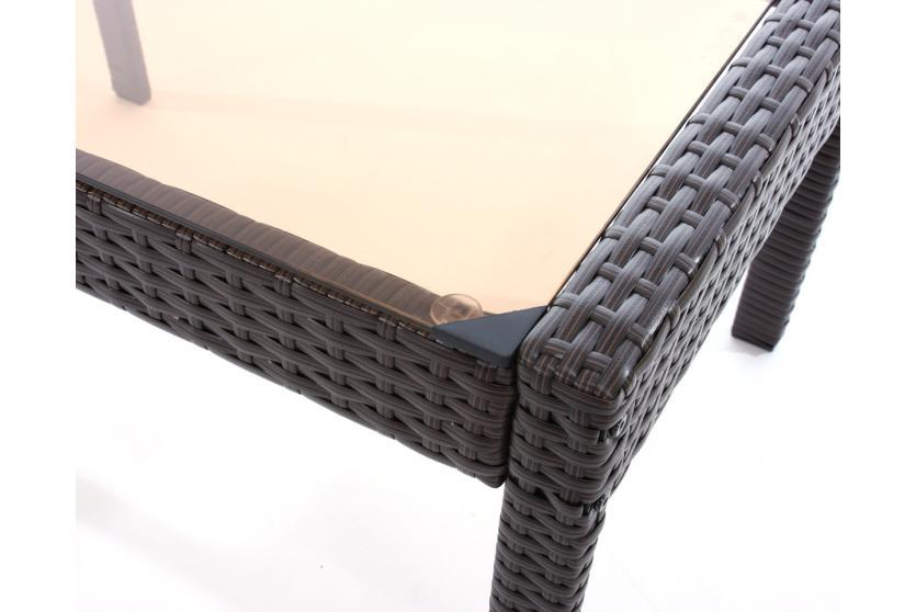 polyrattan gartentisch porto kaffeetisch beistelltisch mit glasplatte braun ebay. Black Bedroom Furniture Sets. Home Design Ideas